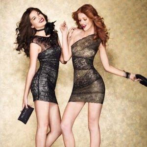 Brand New Bebe crystal lace saige dress NWOT
